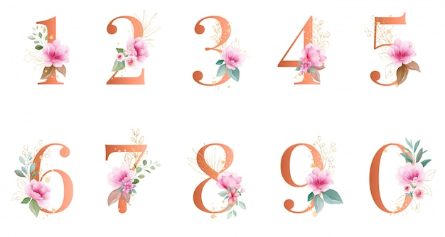 Numéro floral aquarelle or. avec décoration botanique et pailletée.