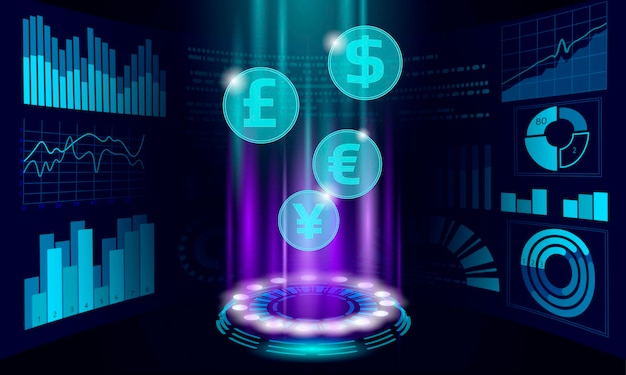 Numéro d flux de données en ligne marché finance affaire ecommerce web commerce succès réseau web low poly bannière polygonale connexion internet internationale illustration vectorielle