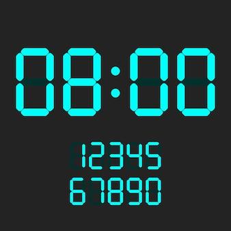 Numéro d'horloge numérique réglé. chiffres électroniques.