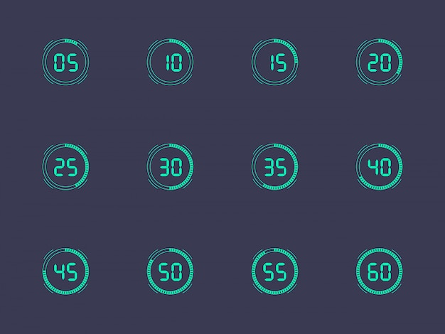 Numéro d'horloge numérique réglé avec un intervalle de cinq minutes. figures électroniques