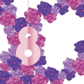 Numéro huit avec des fleurs