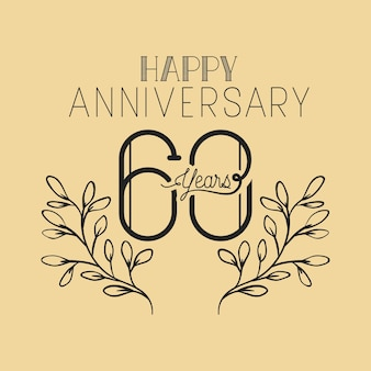 Numéro de joyeux anniversaire soixante avec couronne couronne