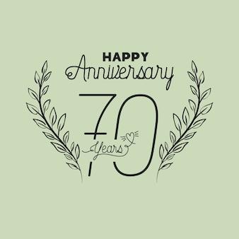 Numéro de joyeux anniversaire soixante-dix avec couronne couronne
