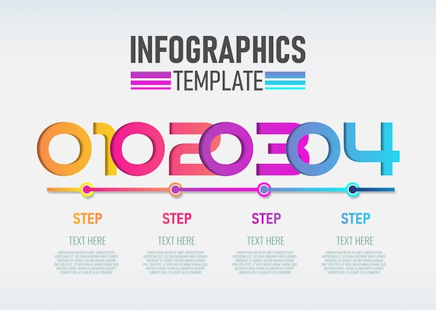 Numéro de modèle de conception infographique avec 4 étapes.