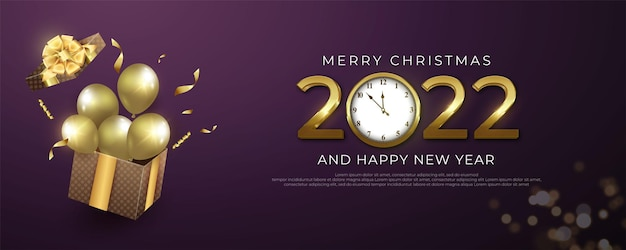 Numéro modifiable 2022 bannière happy new year en fond violet