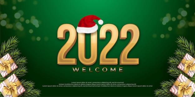Numéro modifiable 2022 bonne année avec l'icône du bonnet de noel sur fond vert