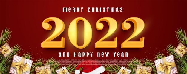Numéro modifiable 2022 style 3d de bonne année adapté à la bannière de noël et du nouvel an