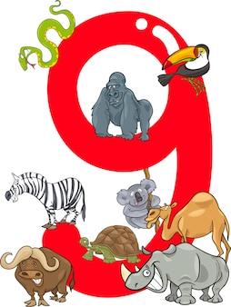 Numéro neuf et 9 animaux