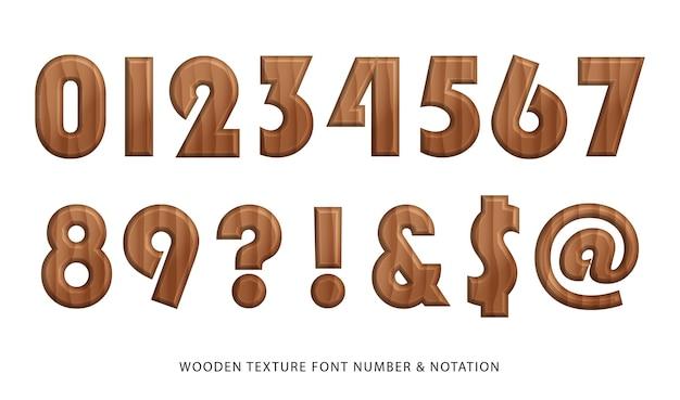 Numéro et notation de la police de texture en bois nature