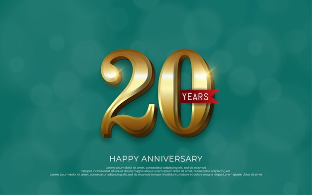 Numéro d'or de luxe de décoration de célébration d'anniversaire 20