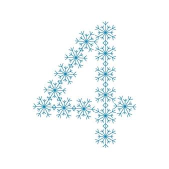 Numéro quatre des flocons de neige. police festive ou décoration pour le nouvel an et noël