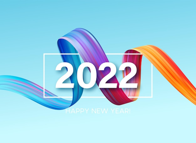 Numéro d'en-tête de calendrier 2022 sur fond de coups de pinceau de couleur abstraite colorée. joyeux fond coloré du nouvel an 2022. illustration vectorielle eps10