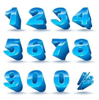 Numéro en trois dimensions réglé de 0 à 9 avec pourcentage de réduction