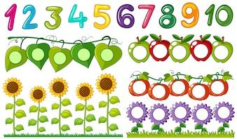 Numéro un à dix avec des feuilles et des cadres de fleurs
