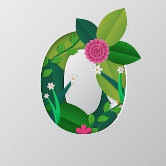 Numéro zéro fait par design floral sur fond gris.
