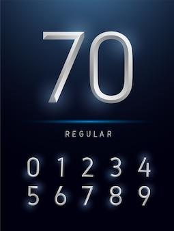 Numéros alphabet argent métallique et effets