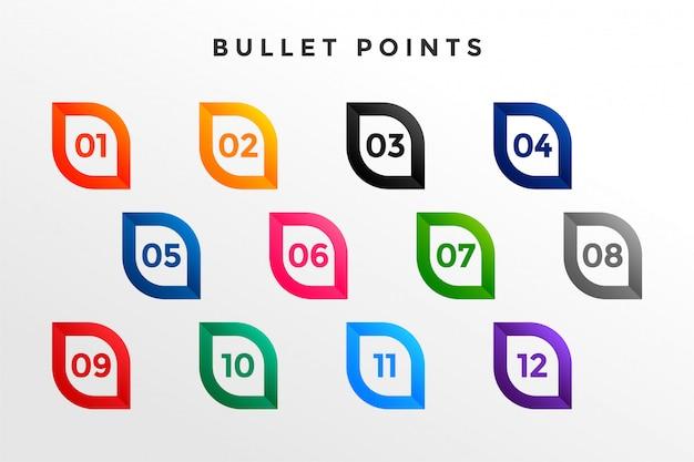 Numéros de balle modernes de un à douze
