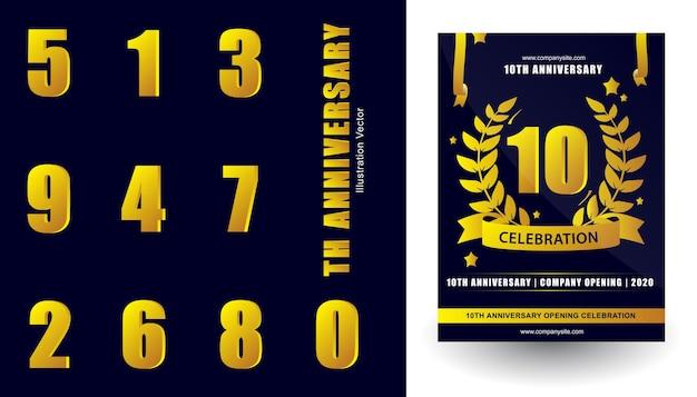 Numéros de célébration d'anniversaire avec des rubans d'étoiles de couronne de feuilles vector illustration
