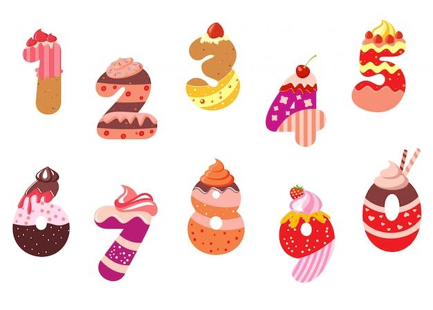 Numéros et chiffres de boulangerie appétissants