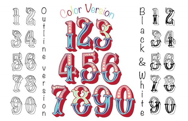 Numéros colorés dans le style vintage