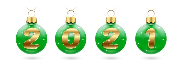 Numéros de confettis dorés en boules de noël vertes festive, nouvel an