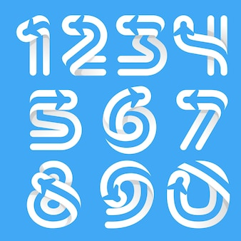 Numéros définis avec avion et compagnie aérienne à l'intérieur. caractère vectoriel pour les étiquettes de vol, les titres de voyage, les affiches de livraison, les cartes d'aviation, etc.
