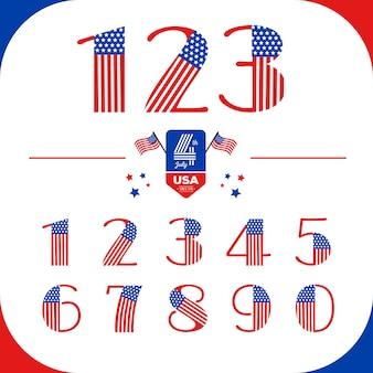 Numéros définis dans le style usa avec le drapeau américain. le jour de l'indépendance