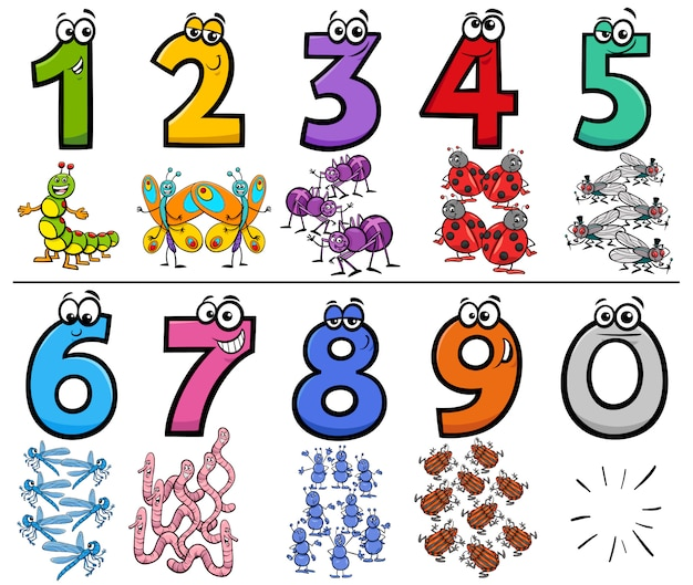 Numéros de dessin animé éducatif serti de personnages d'insectes