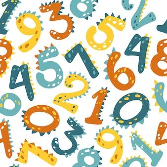 Numéros de dino. patten sans soudure de vecteur dans un style de dessin animé simple.