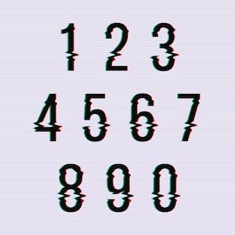 Numéros de distorsion d'écran glitch figés. ensemble de nombres déformés, illustration d'ordre numérique
