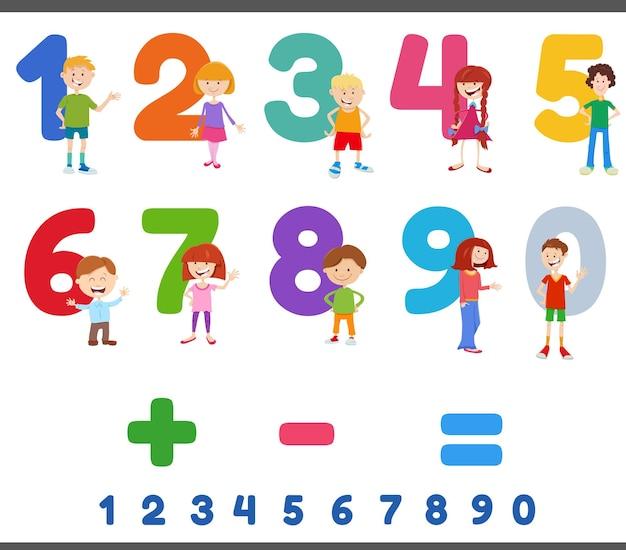 Numéros éducatifs sertis de personnages enfants mignons