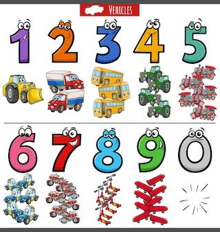Numéros éducatifs sertis de véhicules de transport de dessins animés