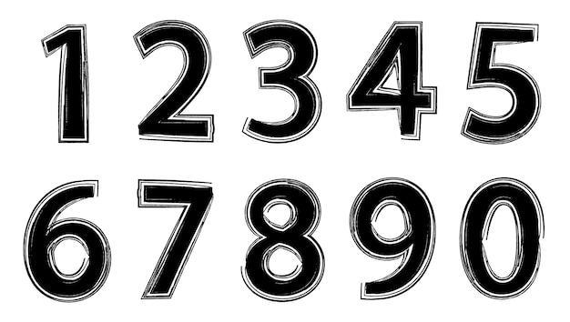 Numéros de grunge de vecteur