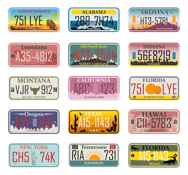 Les numéros d'immatriculation des véhicules aux états-unis (numéros de résumé). plaques de voiture. numéros de licence de véhicule de différents états et pays américains, numéros d'immatriculation des camions.