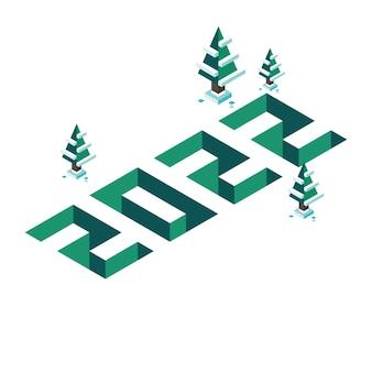 Numéros isométriques de pixel 3d 2022 pour la bannière de joyeux noël et nouvel an au design plat