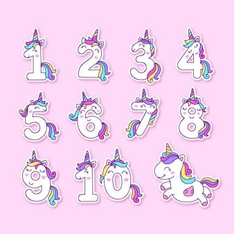 Numéros de licorne colorés mignons