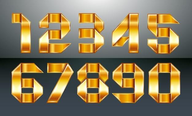 Numéros métalliques pliés à partir d'un ruban doré