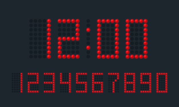 Numéros numériques rouges rouges sur fond noir.