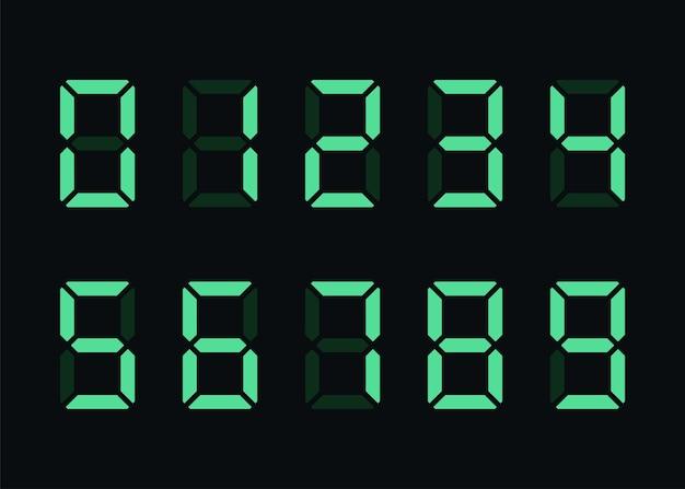 Numéros numériques verts sur fond noir