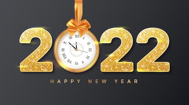 Numéros d'or de bonne année 2022 avec arc et ruban d'horloge murale de paillettes bannière de fond
