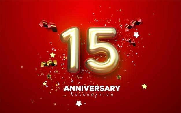 Numéros d'or de célébration du 15e anniversaire avec des confettis étincelants