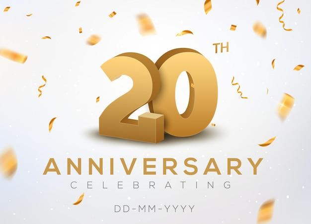 Numéros d'or du 20 anniversaire avec des confettis dorés. célébration 20e anniversaire