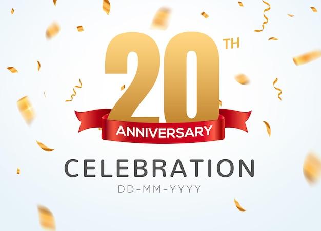 Numéros d'or du 20 anniversaire avec des confettis dorés. modèle de fête d'événement de célébration du 20e anniversaire.