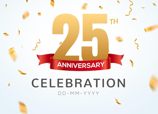 Numéros d'or du 25 anniversaire avec des confettis dorés. modèle de fête d'événement de célébration du 25e anniversaire.