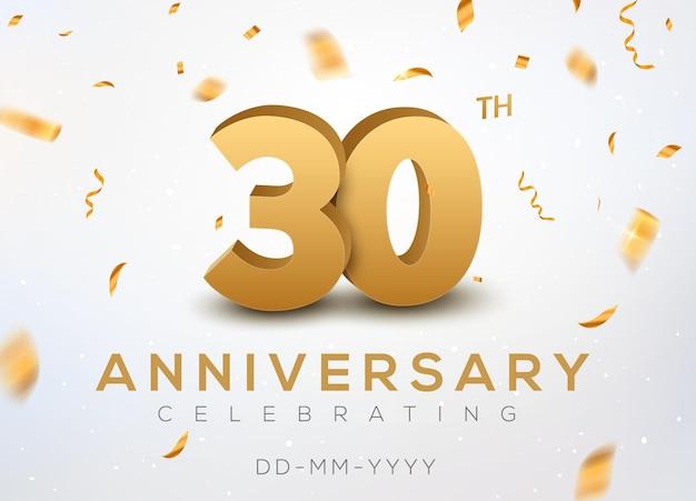 Numéros d'or du 30 anniversaire avec des confettis dorés. célébration 30e anniversaire