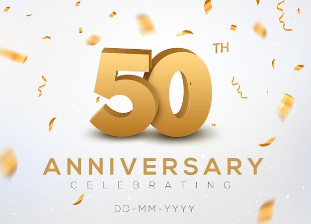 Numéros d'or du 50 anniversaire avec des confettis dorés. célébration 50e anniversaire