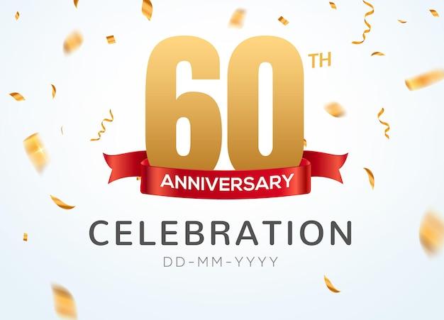 Numéros d'or du 60e anniversaire avec des confettis dorés. modèle de fête d'événement de célébration du 60e anniversaire.