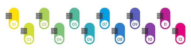 Numéros à puces. marqueurs de liste colorés de 1 à 12. éléments de conception vectorielle définis pour l'infographie moderne.