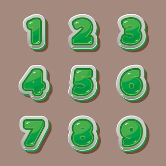 Numéros verts de vecteur pour la conception graphique et de jeu