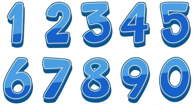 Numéros un à zéro sur blanc